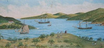 Flyaway -- What a beautiful rendition of Coral Bay, St. Jan in 1833 as painted by Mike Stiles